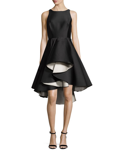 Halston Heritage Sleeveless Colorblock Fit-and-Flare Cocktail