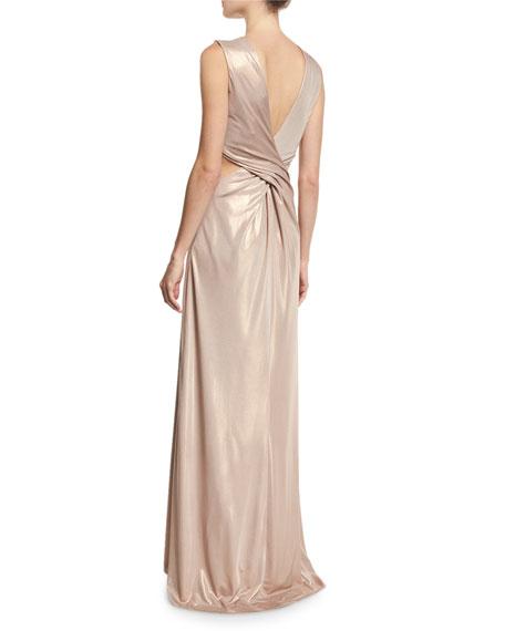 Sleeveless Twist-Back Metallic Jersey Column Gown, Primrose