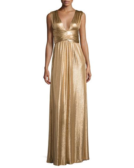Sleeveless Wrap Metallic Jersey Gown, Copper
