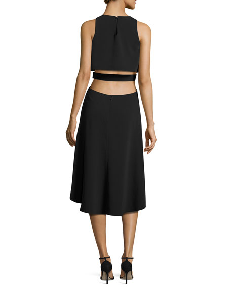 Sleeveless Cutout Stretch Crepe Cocktail Dress, Black
