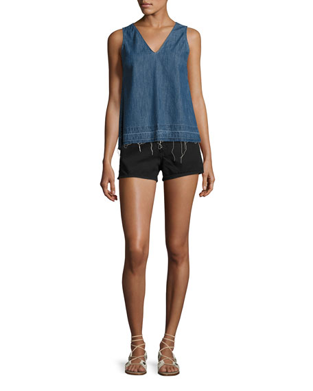 Justine High-Rise Denim Shorts, Black