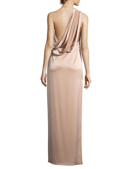Strappy Satin Slip Gown, Cream Beige