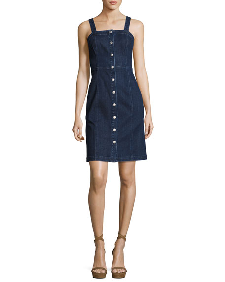 AG Sydney Sleeveless Button-Down Denim Dress, Indigo