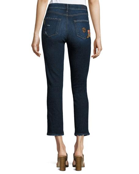 Jacqueline Patch Straight Leg Jeans, Indigo