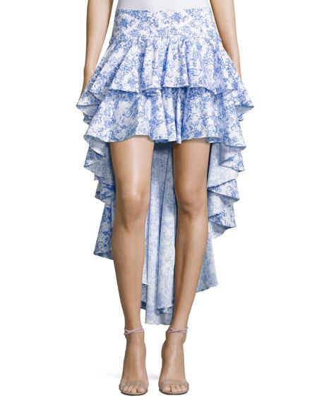 Giulia Cascade Ruffle Printed Skirt, Blue