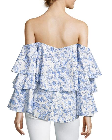 Carmen Off-the-Shoulder Printed Blouse, Blue/White