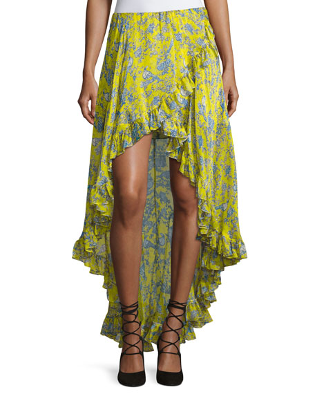 Caroline Constas Adelle Layered Ruffle High-Low Skirt, Yellow