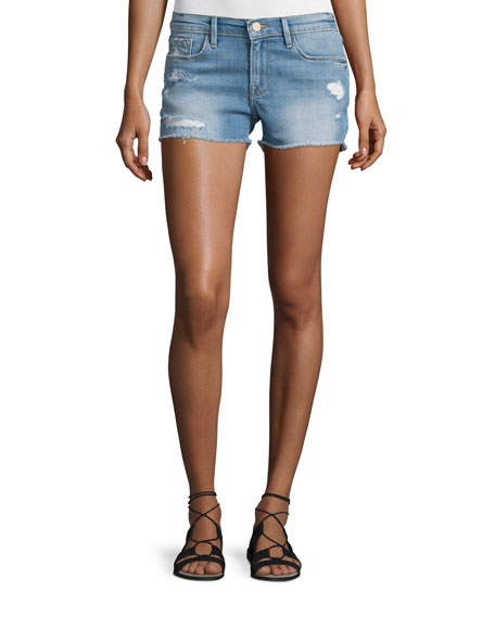 FRAME Le Cutoff Raw-Edge Shorts, Russell Cave