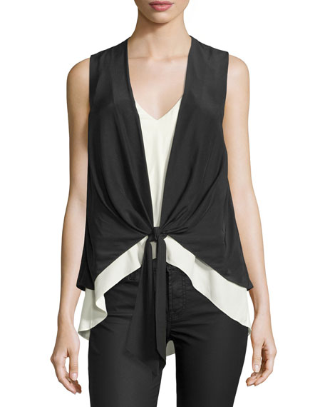 Lulu Colorblock Waistcoat Combo Top, Black/Ivory