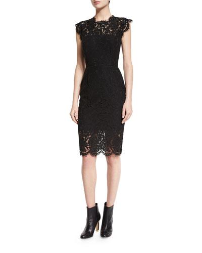 Suzette Floral Lace Sheath Dress, Black