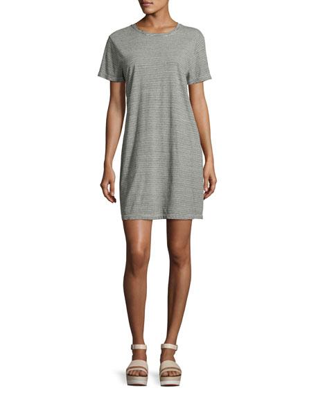 The Beatnik Striped T-Shirt Dress, Gray