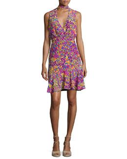 Fleur Choker Floral-Print Dress, Multicolor