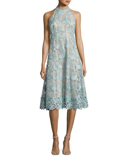 Sleeveless Floral Lace Cocktail Dress, Mint