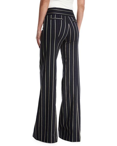 Marinaio Striped Flare Sailor Pants, Blue