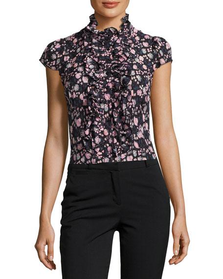 66685b9f Nanette Lepore Cap-Sleeve Floral Silk Ruffle-Trim Blouse, Black/Multicolor