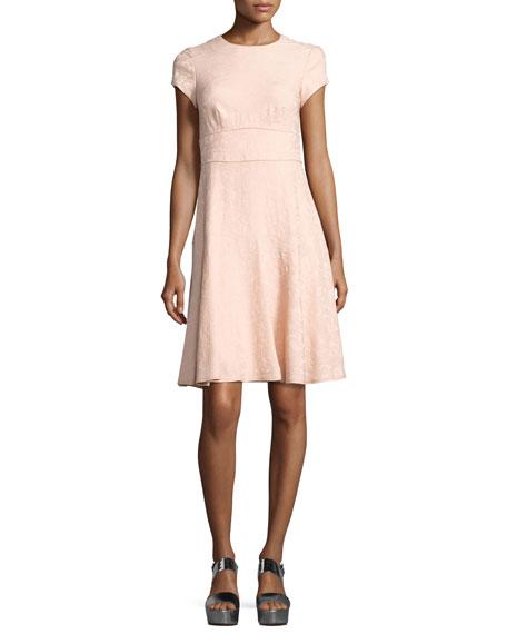 Nanette Lepore Cap-Sleeve Paisley Jacquard Dress, Pink