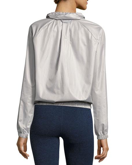 Racing Wind-Resistant Athletic Jacket, Silver
