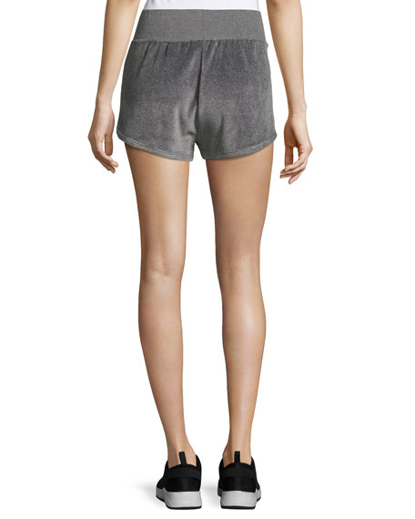 Gunmetal Velour Athletic Sport Shorts, Gray