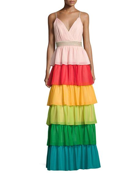 Alice + Olivia Luba Sleeveless Tiered Chiffon Gown,