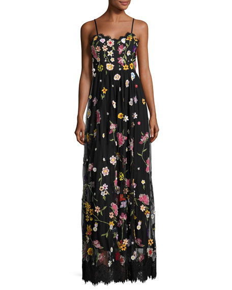 Alice + Olivia Lindy Sleeveless Embroidered Column Gown,