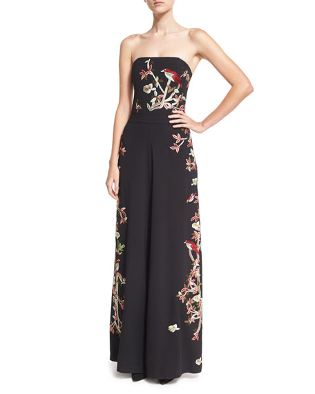 Raven Strapless Embroidered Wide-Leg Jumpsuit, Black/Multicolor
