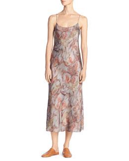 Watercolor Silk Midi Slip Dress, Fig (Orange)