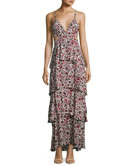 A.L.C. Titus Sleeveless Tiered Floral Silk Maxi Dress,