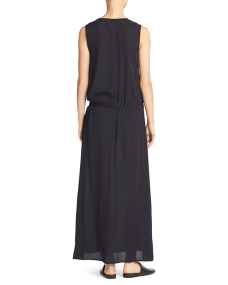 Silk Belted Drop-Waist Maxi Dress, Black