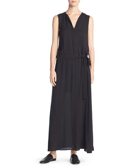 Silk Belted Drop-Waist Maxi Dress, Black