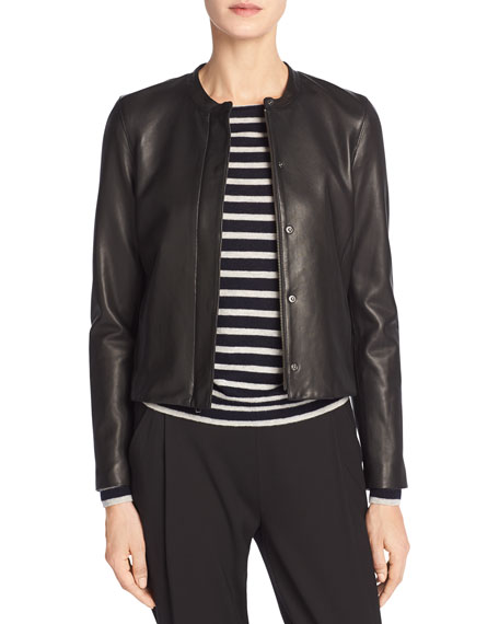 Leather Collarless Zip-Front Jacket, Black