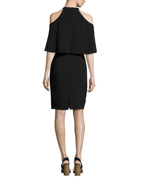 Stretch Crepe Cape Cocktail Dress, Black