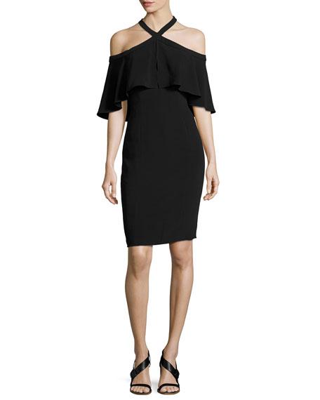 Stretch Crepe Cape Cocktail Dress, Black
