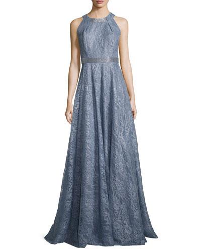 Sleeveless Metallic Floral Gown, Blue