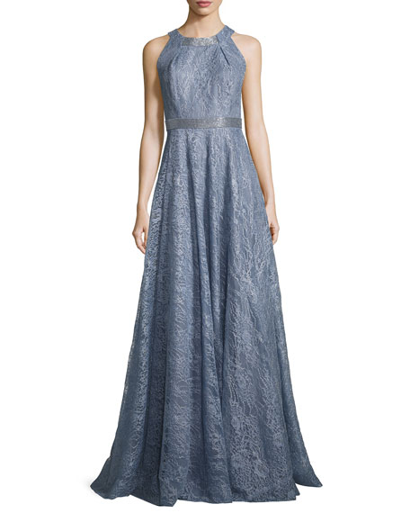 Sleeveless Metallic Floral Gown, Blue