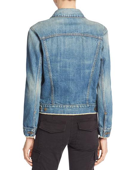 Cropped Denim Jacket, Mid Blue Wash