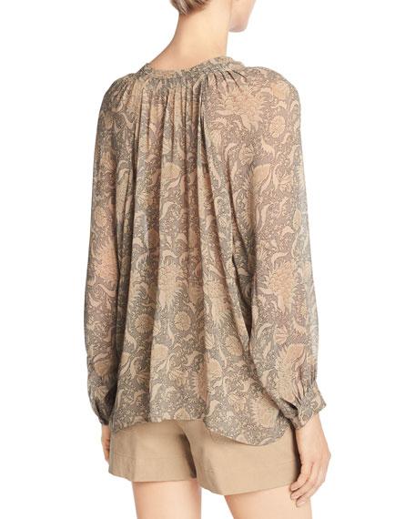 Vintage Floral Pleat-Neck Silk Blouse, Natural