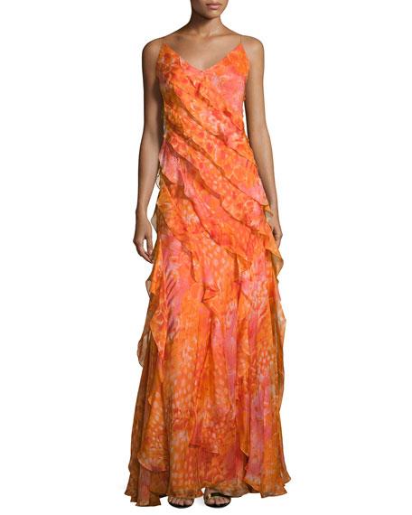 Carmen Marc Valvo Sleeveless Floral Silk Ruffle Gown,