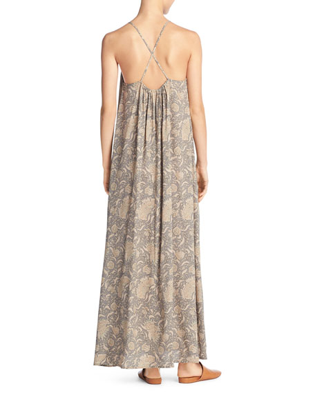 Vintage Floral Shirred Silk Maxi Tank Dress, Natural