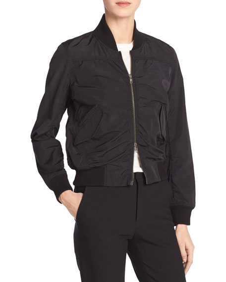 Washed Shrunken Bomber Jacket, Black