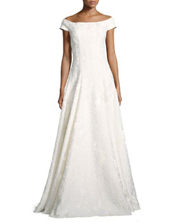 Cap-Sleeve Floral Brocade Gown, Ivory