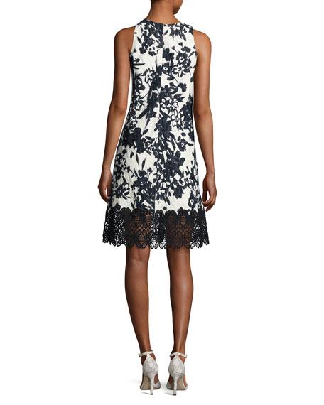 Sleeveless Floral Jacquard Cocktail Dress, White/Black