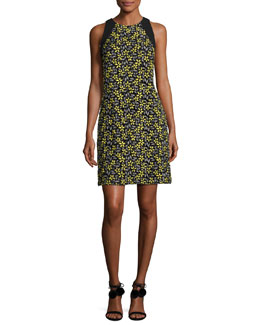 Sleeveless Daisy Cocktail Dress, Yellow/Multicolor