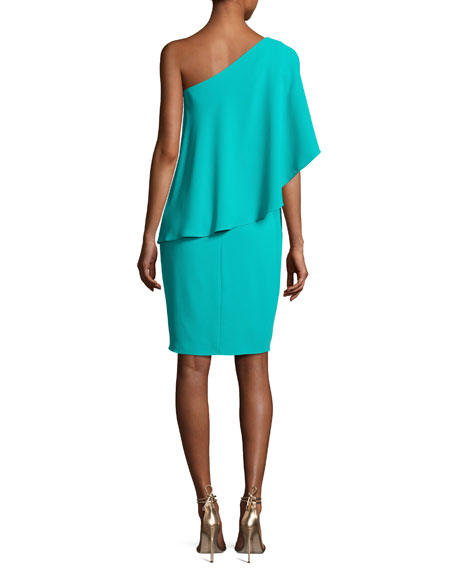 One-Shoulder Asymmetric Popover Cocktail Dress, Jade