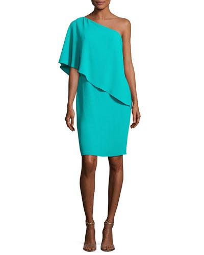 One-Shoulder Asymmetric Popover Cocktail Dress, Jade