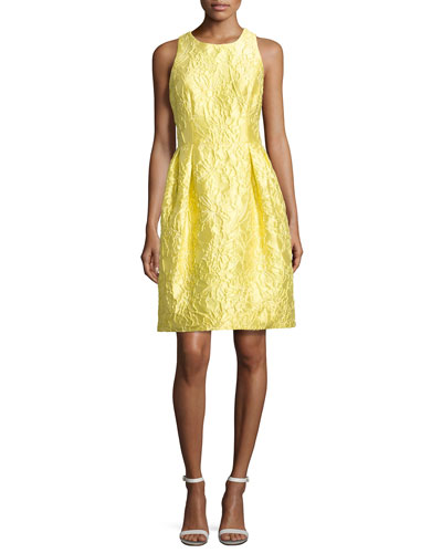 Sleeveless Floral Brocade Cocktail Dress, Yellow