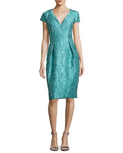 Cap-Sleeve Jacquard Cocktail Dress, Jade