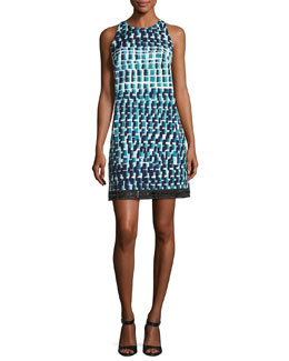 Sleeveless Geometric Cocktail Dress, Jade/Multicolor