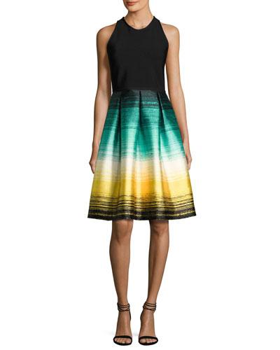 Sleeveless Ponte & Striped Taffeta Cocktail Dress, Black/Multicolor