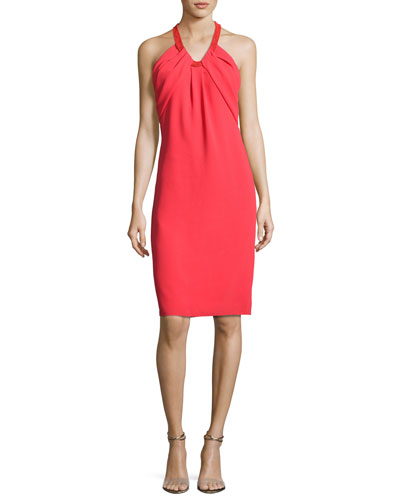 Sleeveless Crepe Cocktail Dress, Poppy Red