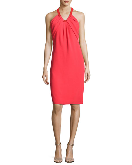Carmen Marc Valvo Sleeveless Crepe Cocktail Dress, Poppy